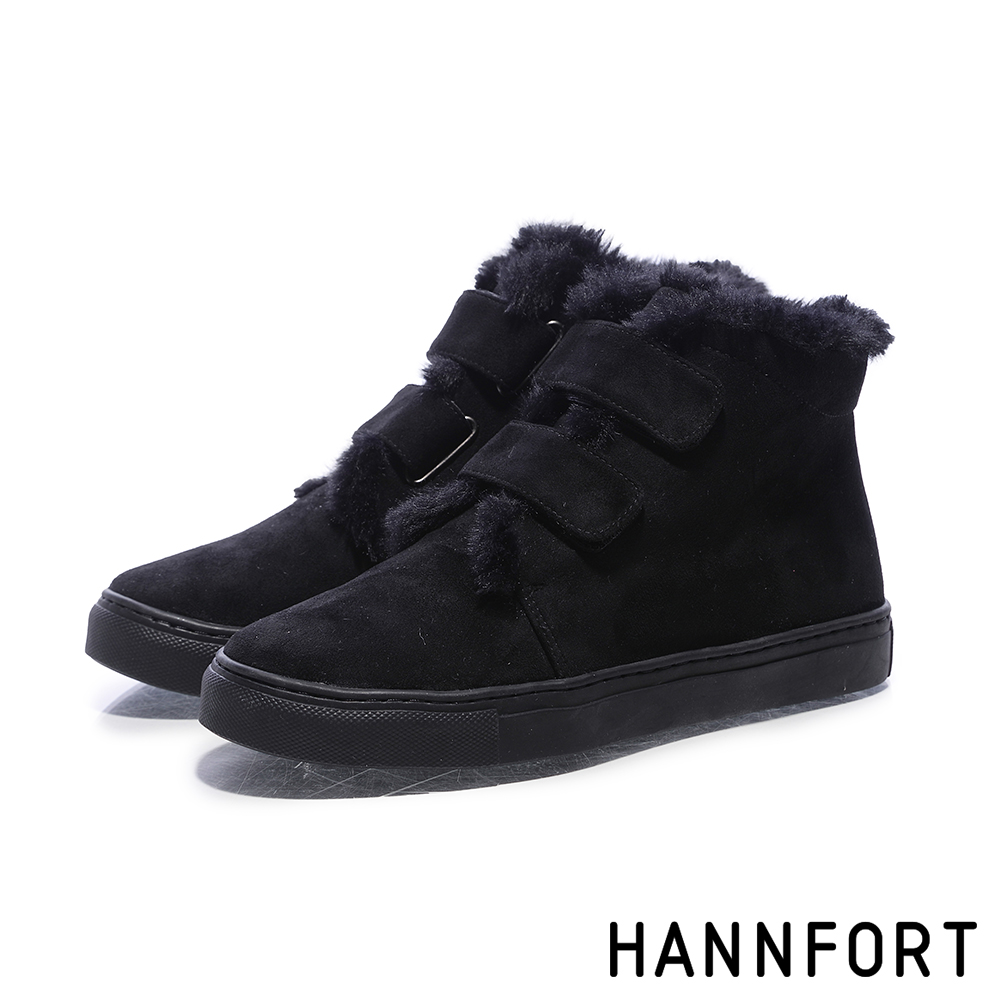 HANNFORT CAMPUS毛絨厚底短筒靴-女-暖絨黑