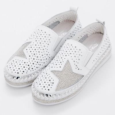 River&Moon全真皮-鏤空星星水鑽編織滾邊厚底休閒鞋-白