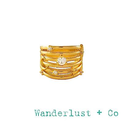 Wanderlust+Co 閃耀銀河月亮星星戒指 金色鑲鑽多層次戒指 ASTRA