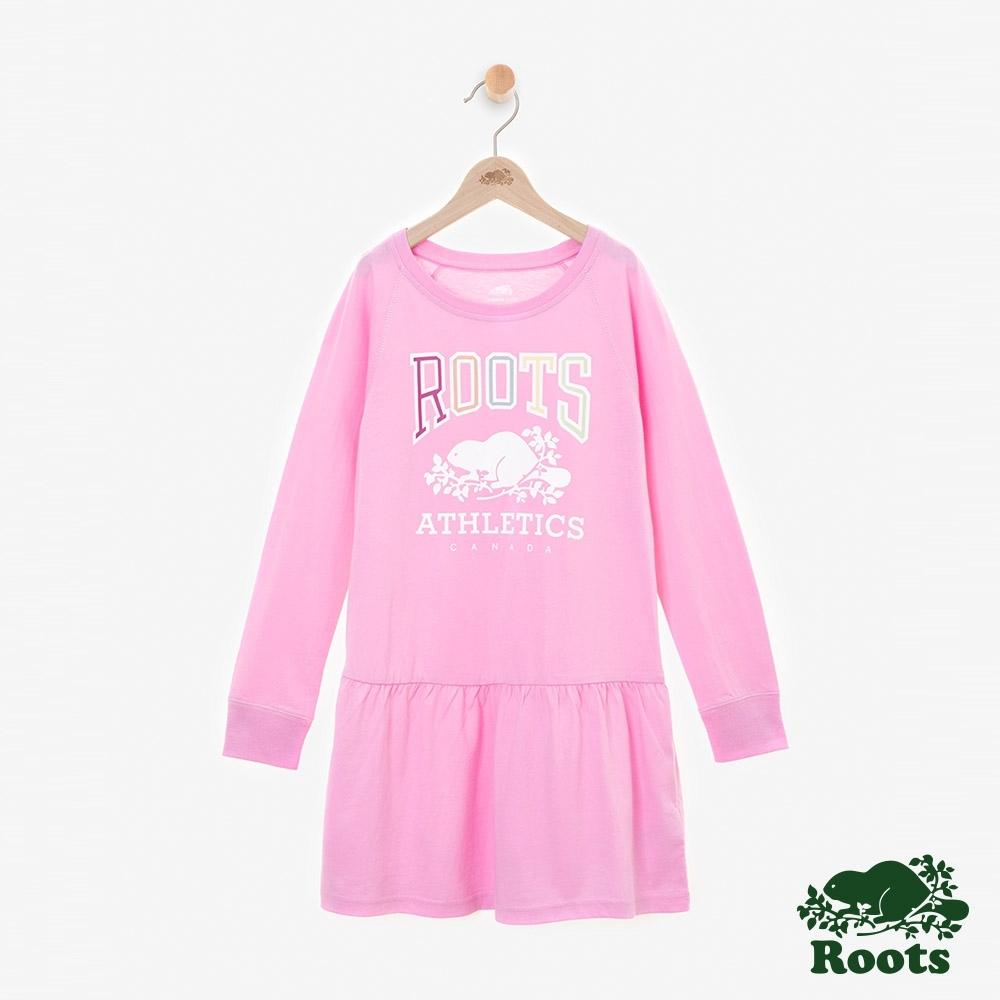 Roots小女童- RBA荷葉擺長袖洋裝-桃紅色