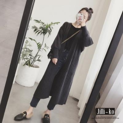 JILLI-KO 韓版泡泡袖坑條開襟針織外套- 黑/杏