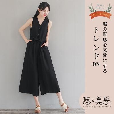 悠美學-日系文藝蝴蝶結抽繩棉麻料造型連身褲-3色(M~L)