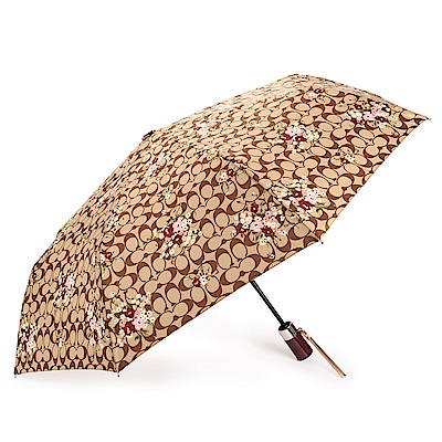 COACH 經典滿版LOGO花卉圖案全自動開闔晴雨傘-咖啡/酒紅色