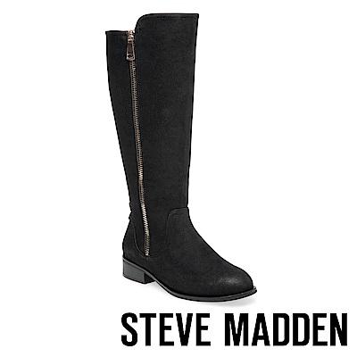 STEVE MADDEN-RHAPSODY經典拉鍊真皮馬靴-黑色