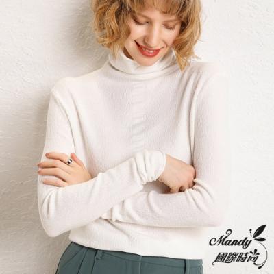 Mandy國際時尚 長袖上衣 羊毛純色套頭堆堆領英倫針織厚毛衣(10色)