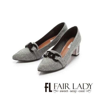 Fair Lady優雅小姐Miss Elegant 扣環布紋尖頭粗跟鞋 灰條紋