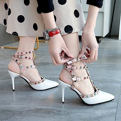 KEITH-WILL時尚鞋館 歡樂單品手作串珠細跟鞋-白色