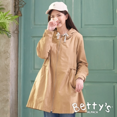 betty's貝蒂思 腰間抽繩連帽拉鍊大衣(卡其)