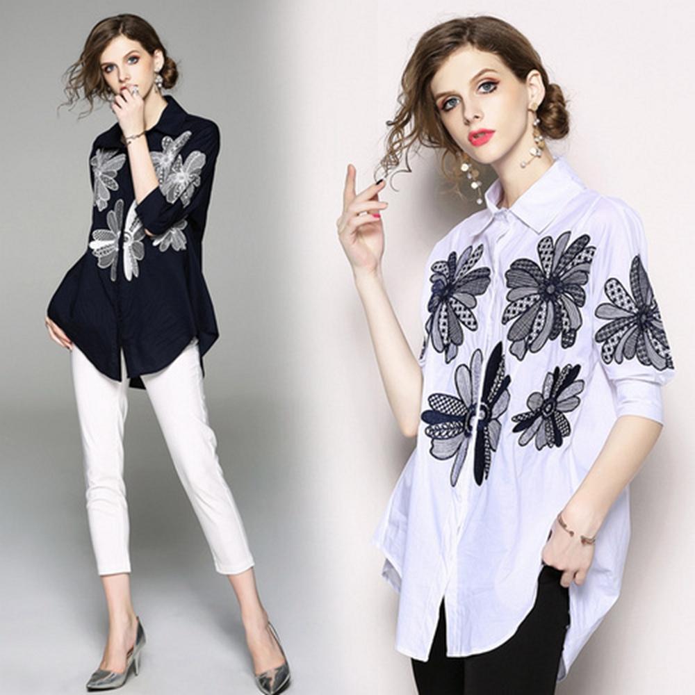 休閒穿搭花朵圖騰襯衫S-XL(共二色)-M2M