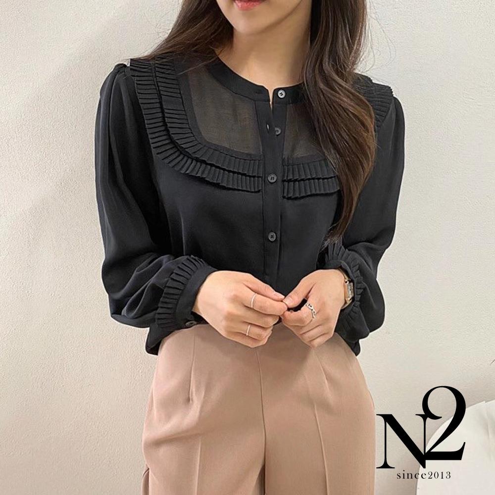 上衣 正韓U領緞面緞帶抓皺造型長袖襯衫(黑)N2
