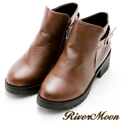 River&Moon百搭不敗-金屬釦環粗跟短靴-棕