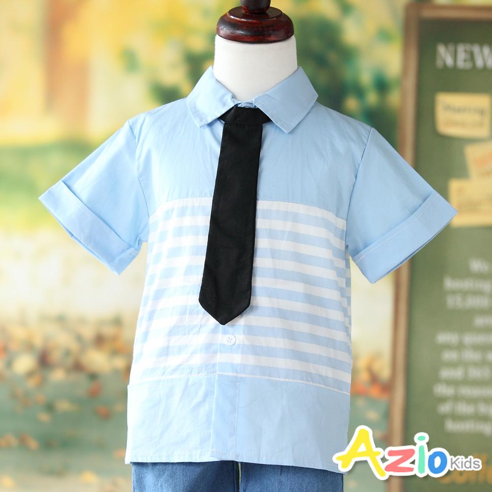 Azio Kids 上衣 藍底橫白條領帶造型短袖襯衫(藍)