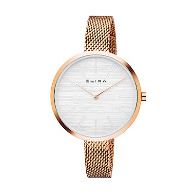 ELIXA Beauty簡約刻度金屬系列 玫瑰金色米蘭錶手錶帶36mm