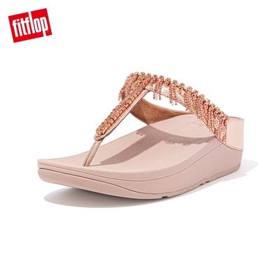 【FitFlop】FINO CHANDELIER TOE-POST SANDALS 閃亮金屬人造皮革夾腳涼鞋-女(玫瑰金)
