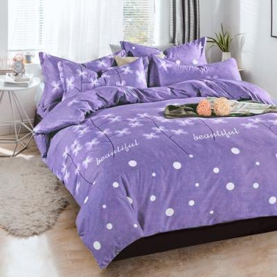 A-ONE 雪紡棉 雙人加大床包/枕套 三件組 花花世界-紫 MIT台灣製