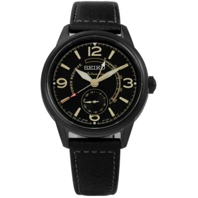 SEIKO 精工 PRESAGE 自動上鍊 藍寶石水晶玻璃 牛皮機械錶-黑色/42mm