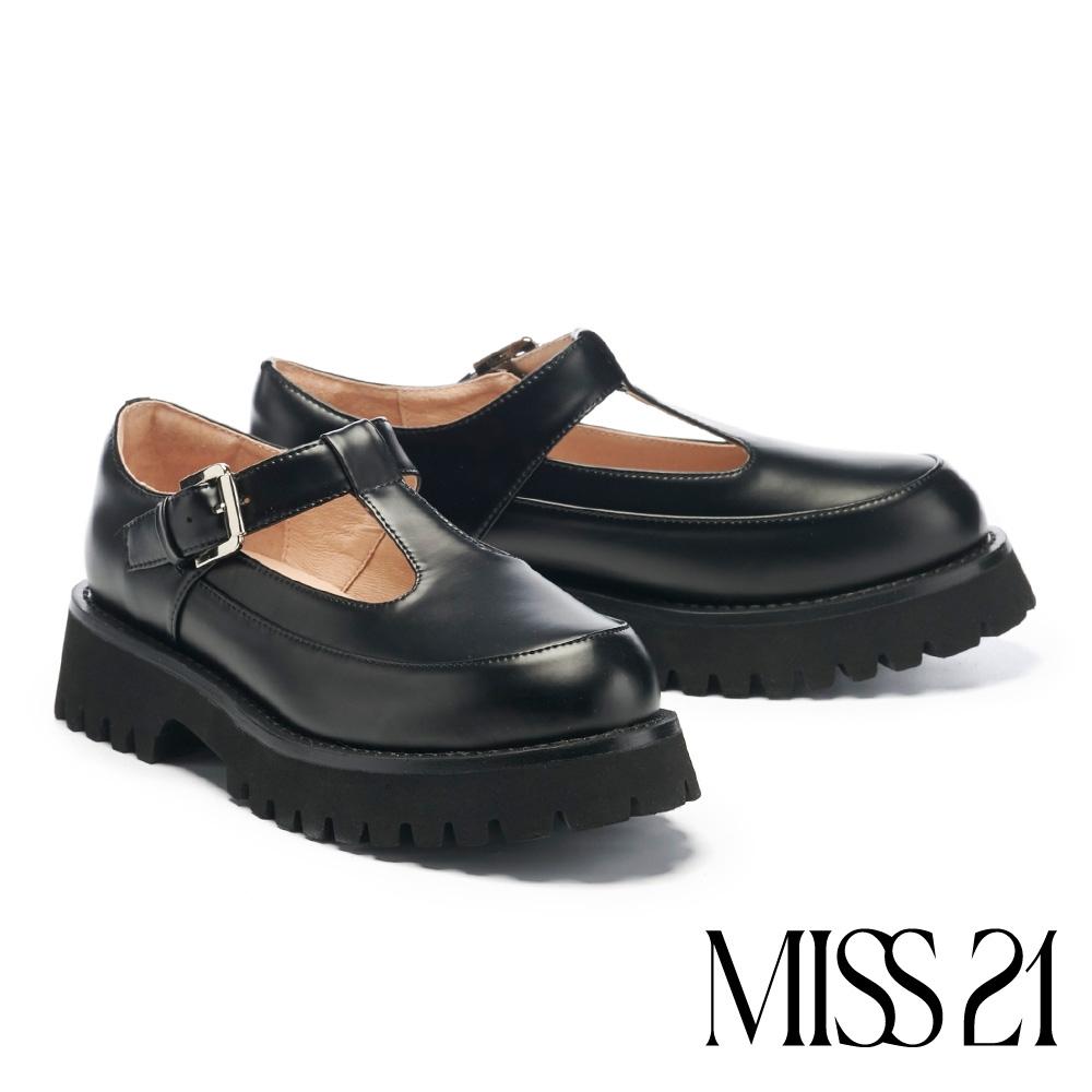 厚底鞋 MISS 21 叛逆甜酷少女T字帶坦克厚底鞋-黑