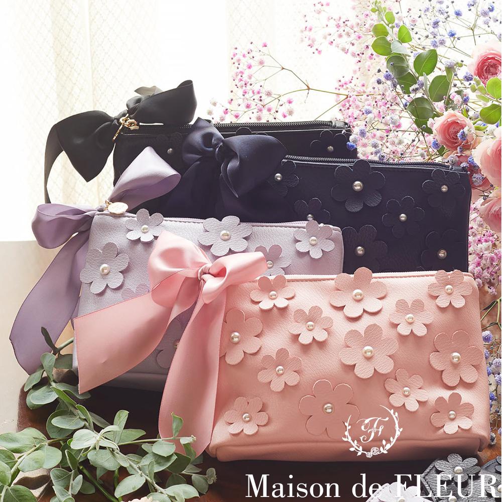 Maison de FLEUR 甜美花卉造型絲帶化妝包