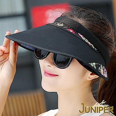 JUNIPER 女款抗紫外線UV防曬遮陽板髮夾空心帽