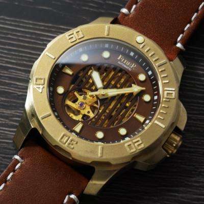 FIBER 青銅錶 海洋潛將青銅特別版-直紋鏤空咖啡色/43.7mm
