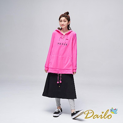 Dailo INLook 毛茸茸字母長版帽T(粉色)
