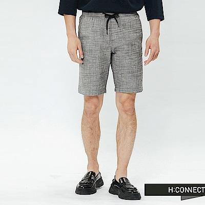 H:CONNECT 韓國品牌 男裝-格紋抽繩休閒短褲-灰