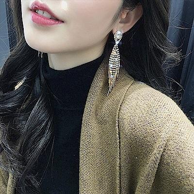 梨花HaNA 韓國閃鑽瀑布絕美新娘耳環
