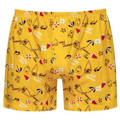 DADADO-SUMMER TIME M-3L印花四角男內褲(黃) 天然絲光棉-吸濕排汗