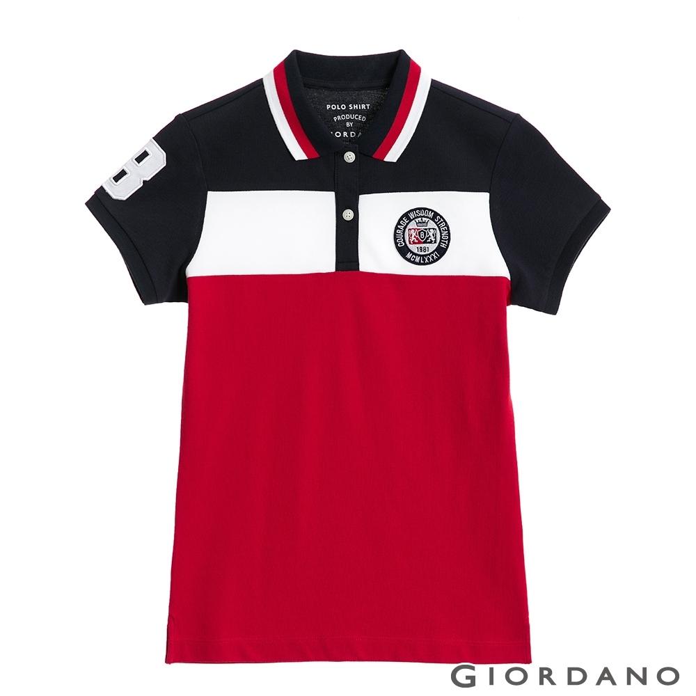 GIORDANO 女裝UNION JACK POLO衫-15 藍/白/紅