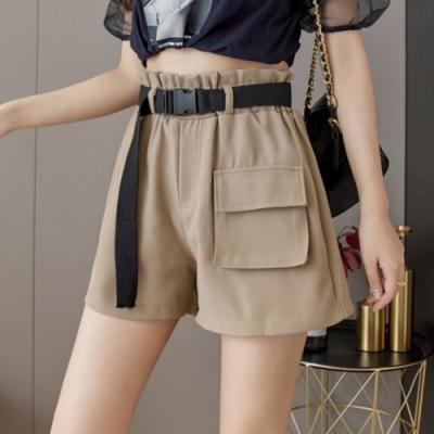 La Belleza素色花苞鬆緊腰高腰單蓋口袋附腰帶闊腿短褲