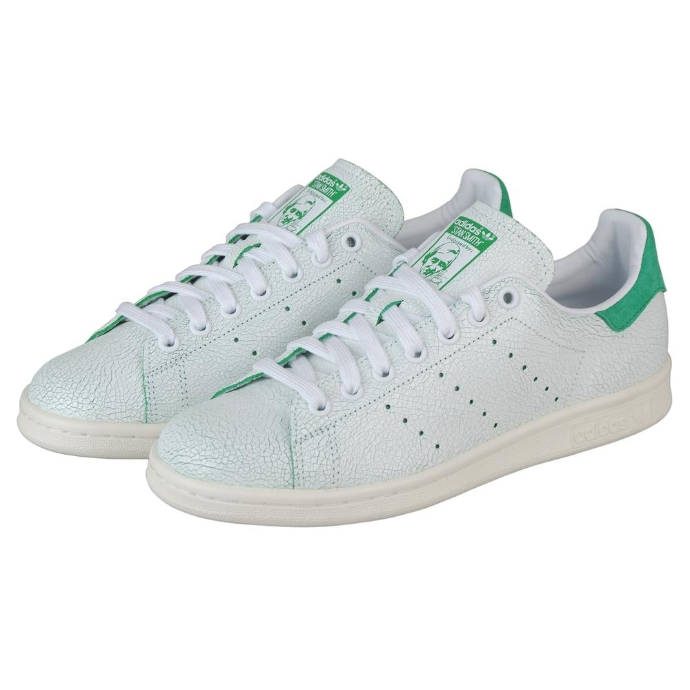 adidas stan smith系列休閒爆裂紋運動鞋(女/白+綠)