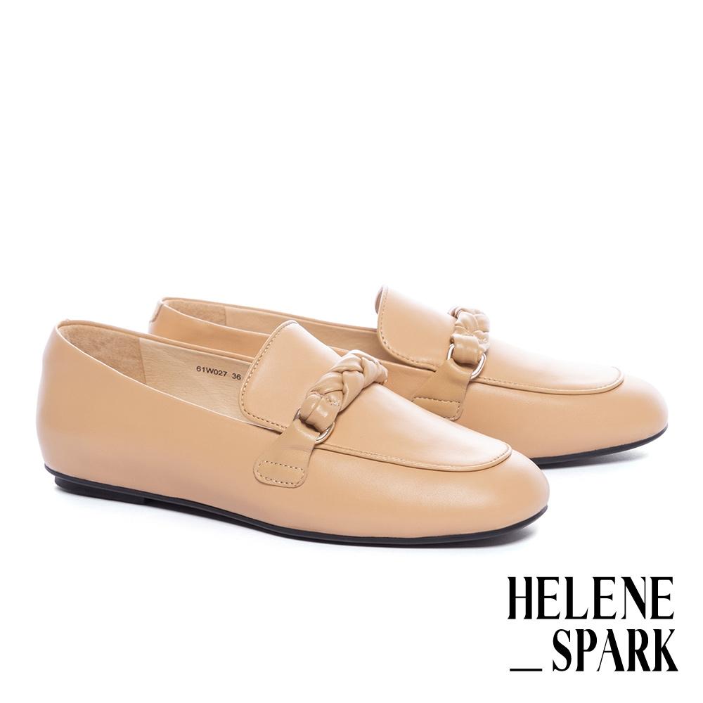 平底鞋 HELENE SPARK 簡約麻花編織條帶羊皮樂福平底鞋-黃