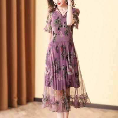 時尚V領印花收腰顯瘦褶皺洋裝-F(共二色)-糖潮
