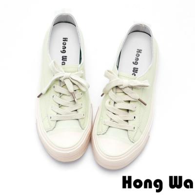 Hong Wa 開口笑設計綁帶牛皮休閒鞋 - 綠