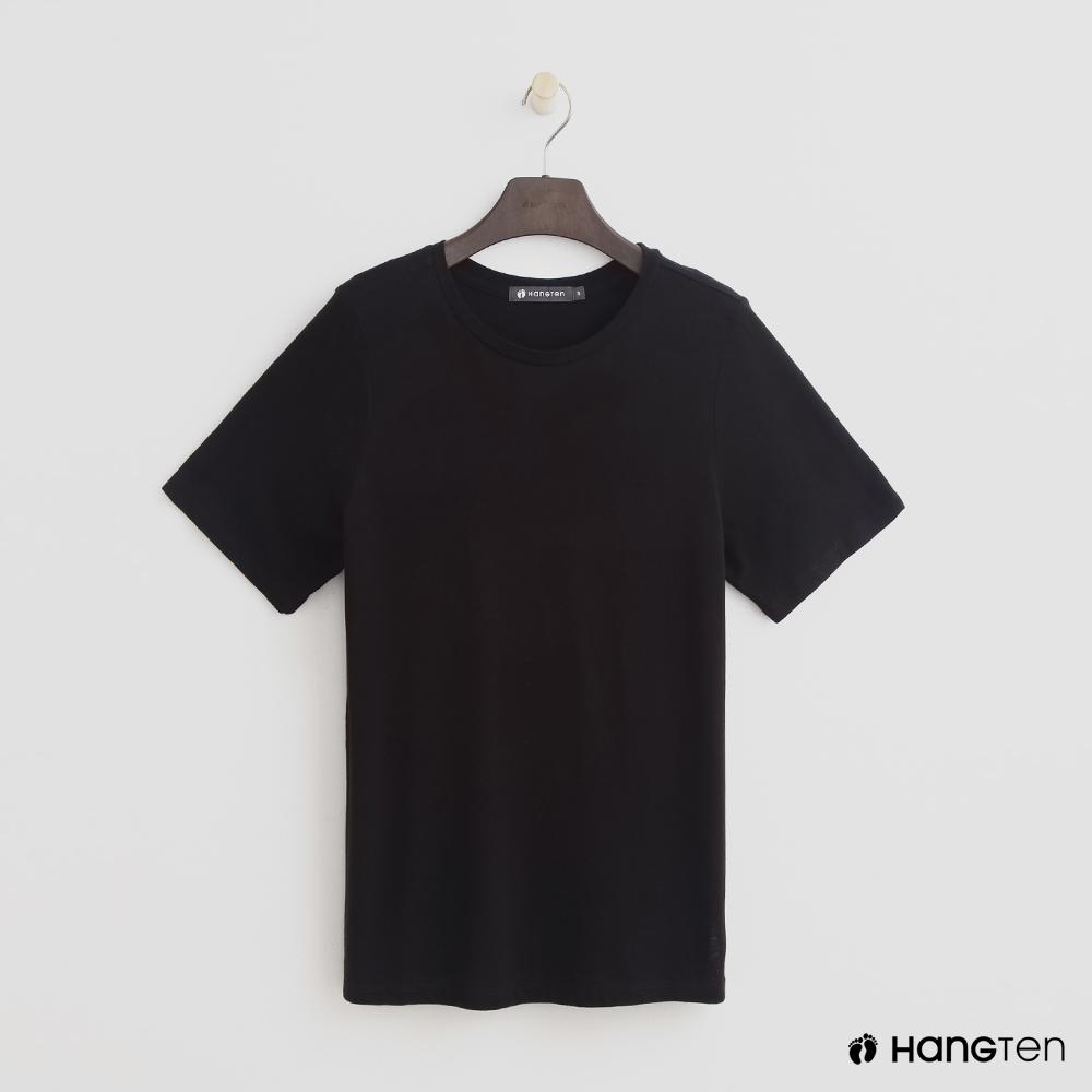 Hang Ten - 女裝 - 合身圓領素面T恤 - 黑
