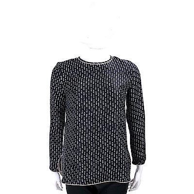 Max Mara 100%SILK 質感包邊線條印花黑色極簡上衣