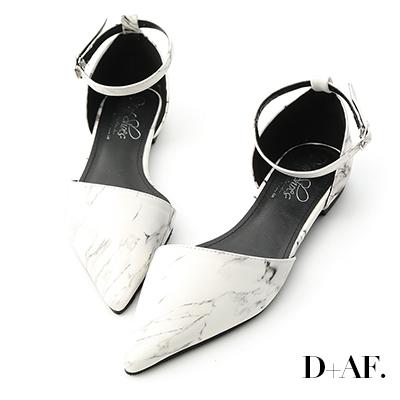 D+AF 完美質感.大理石紋側空尖頭鞋*白