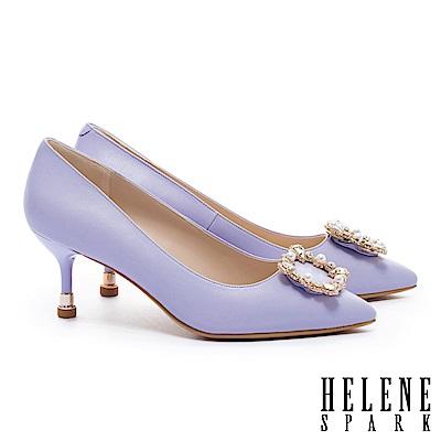 高跟鞋 HELENE SPARK 優雅奢華晶鑽珍珠方釦羊皮尖頭高跟鞋-紫