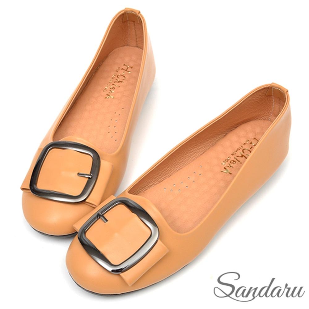 山打努SANDARU-真皮方釦圓頭軟底平底鞋-黃 (黃)