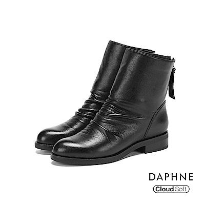 達芙妮DAPHNE 短靴-原色牛皮皺褶雲軟鞋底粗跟短靴-黑