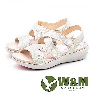 W&M 鏤空燙金花朵健走健塑涼鞋 女鞋-金(另有藍)