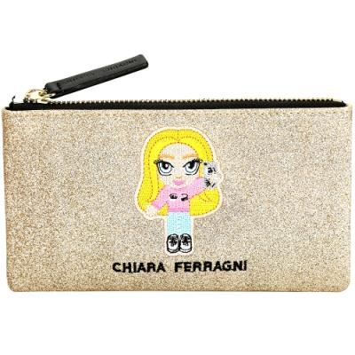 Chiara Ferragni @cfmascotte 刺繡IG女孩細沙感亮片手拿包(金色)