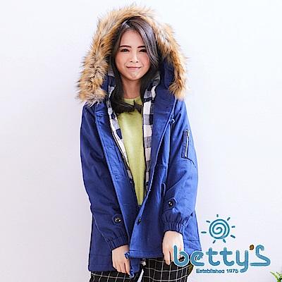 betty's貝蒂思 格紋拼接毛毛連帽鋪棉大衣(共二色)