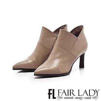 Fair Lady皮革層次拼接尖頭高跟短靴 灰