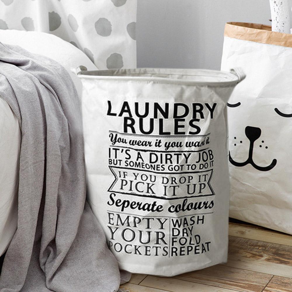 【收納職人】清新簡約英文棉麻大容量收納桶/洗衣籃/髒衣籃 (圓桶-Laundry)