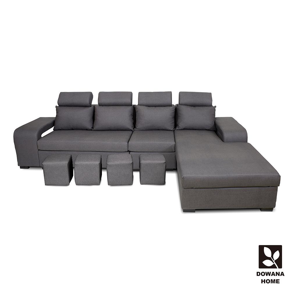 多瓦娜-都柏林貓抓皮L型沙發-附贈小椅凳 product image 1