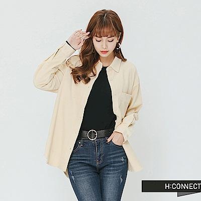 H:CONNECT 韓國品牌 女裝-單口袋燈芯絨襯衫-米白