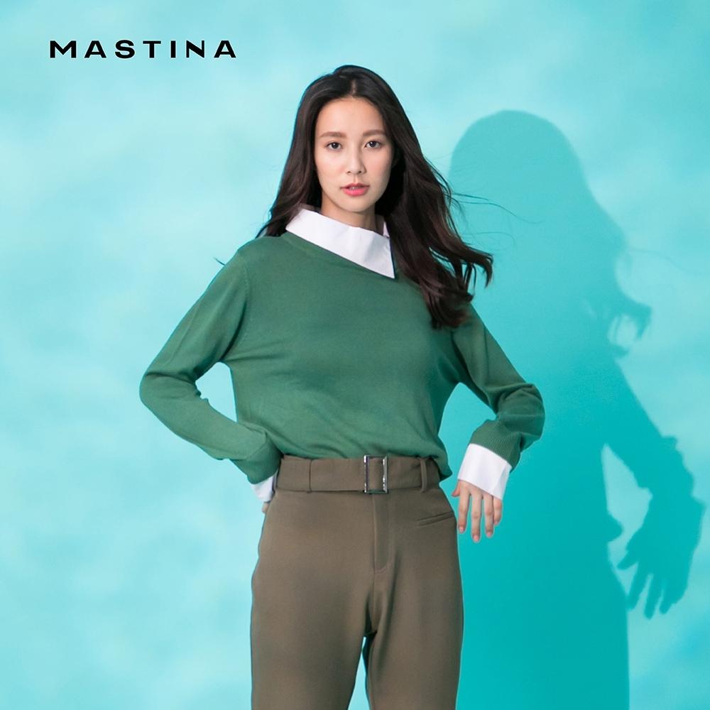 【MASTINA】斜口假兩件襯衫領-針織衫(三色)