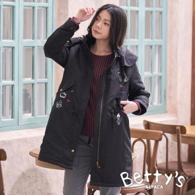 betty's貝蒂思 鋪棉連帽繡線外套(黑色)