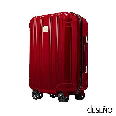 Deseno酷比旅箱18.5吋超輕量拉鍊行李箱寶石色系廉航指定版-金屬紅